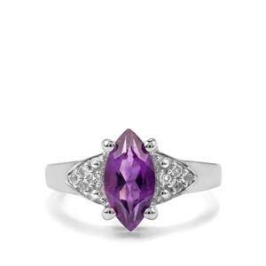 Zambian Amethyst & White Topaz Sterling Silver Ring ATGW 1.86cts