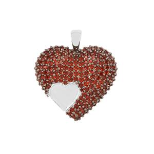 Anthill Garnet Heart Design Pendant in Sterling Silver 2.71cts