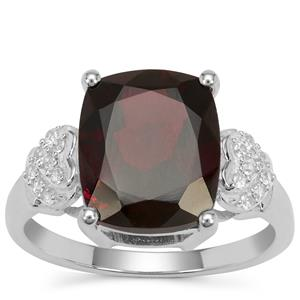 Octavian Garnet Ring with White Zircon in Sterling Silver 6.70cts