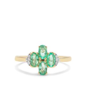 Colombian Emerald Ring with Diamond in 9K Gold 1.02cts