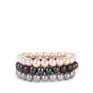 Multi-Colour Kaori Cultured Pearl Set of 3 Elastic Bracelet (9x8.50mm)