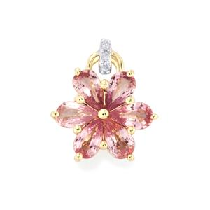 Sakaraha Pink Sapphire Pendant with Diamond in 10K Gold 1.45cts