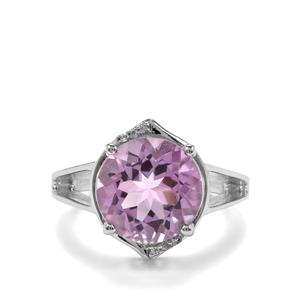 Rose De France Amethyst & White Zircon Sterling Silver Ring ATGW 7.03cts