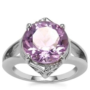 Rose De France Amethyst Ring with White Zircon in Sterling Silver 7.03cts