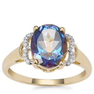 Mystic Blue Topaz Ring with Diamond in 10K Gold 3.09cts