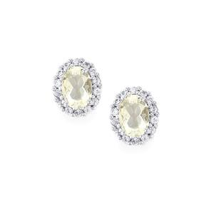 Itinga Petalite Earrings with White Topaz in Sterling Silver 1.74cts