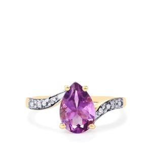Moroccan Amethyst & White Zircon 9K Gold Ring ATGW 1.78cts