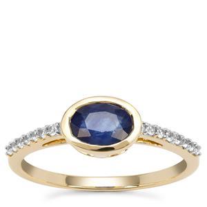 Kanchanaburi Sapphire Ring with White Zircon in 9K Gold 1.18cts