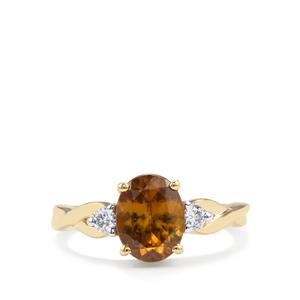 Morafeno Sphene Ring with Diamond in 18K Gold 2.18cts