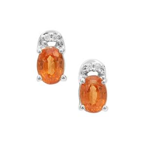 Mandarin Garnet & White Zircon Sterling Silver Earrings ATGW 1.31cts