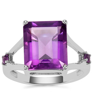 Amethyst Ring in Sterling Silver 6.05cts