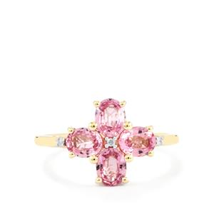 Sakaraha Pink Sapphire Ring with Diamond in 9K Gold 1.67cts