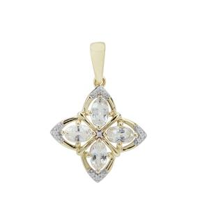 Ceylon White Sapphire Pendant in 9K Gold 1.32cts