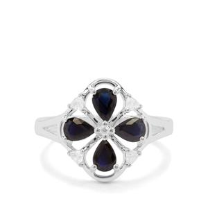 Australian Blue Sapphire & White Zircon Sterling Silver Ring ATGW 1.38cts