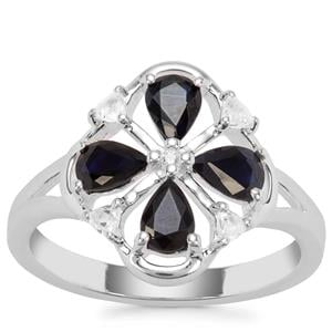 Australian Blue Sapphire Ring with White Zircon in Sterling Silver 1.38cts