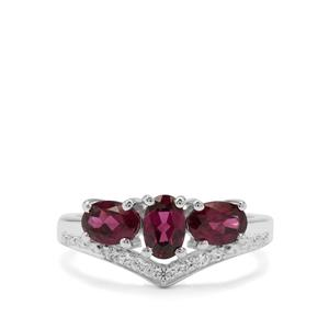 Tocantin Garnet Ring with White Zircon in Sterling Silver 1.91cts