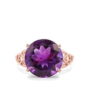 6.66ct Moroccan Amethyst 10K Rose Gold Ring