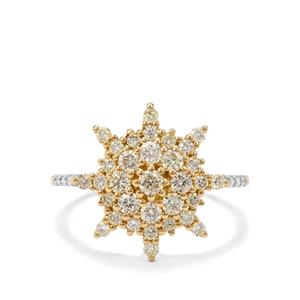 3/4ct Natural Fancy & White Diamond 18K Gold Tomas Rae Ring