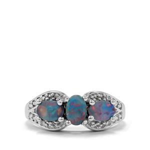 Crystal Opal on Ironstone Ring in Sterling Silver