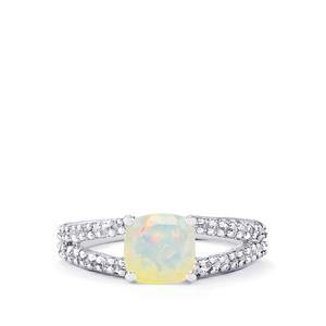 Ethiopian Opal & White Topaz Sterling Silver Ring ATGW 1.31cts