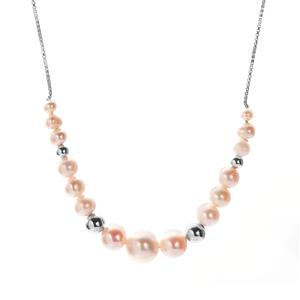 Kaori Cultured Pearl Necklace in Rhodium Flash Sterling Silver