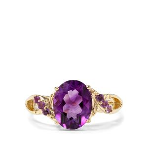 2.33ct Moroccan & Zambian Amethyst 9K Gold Ring