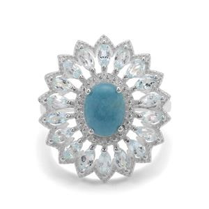Thor Blue Quartz Ring with Sky Blue Topaz in Sterling Silver 3.50cts