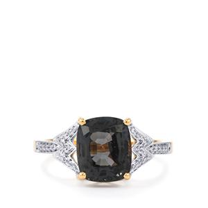 Burmese Spinel Ring with Diamond in 18k Gold 3.71cts