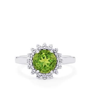 Changbai Peridot & White Topaz Sterling Silver Ring ATGW 2.18cts