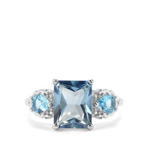 4.75ct Santa Maria & Swiss Blue Topaz Sterling Silver Ring