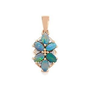 Crystal Opal on Ironstone Pendant with Diamond in 10k Gold