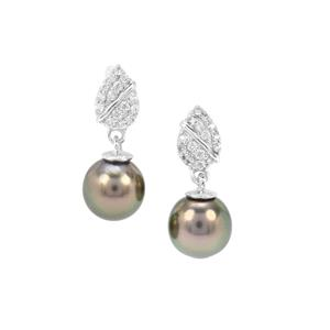 Tahitian Cultured Pearl & White Zircon Sterling Silver Earrings ( 7 X 10 mm )