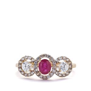 1.36cts Montepuez Ruby & White Zircon 9K Gold Ring
