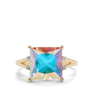 Mercury Mystic Topaz Ring with Diamond in 9K Gold 5.84cts