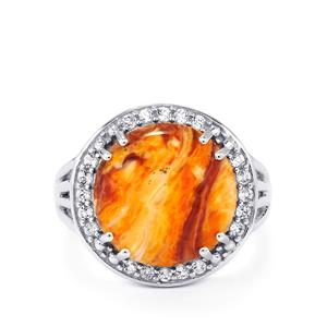 Lion's Paw Shell (14x14mm) & 0.37cts White Topaz Sterling Silver Ring