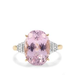 Kolum Kunzite Ring with Diamond in 9K Gold 7.70cts