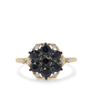 Australian Blue Sapphire Ring with Diamond in 9K Gold 1.50cts