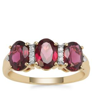 Rajasthan Garnet Ring with Diamond in 9K Gold 2.97cts