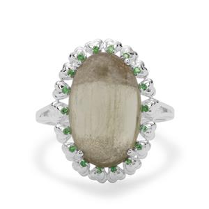 Menderes Diaspore Ring with Tsavorite Garnet in Sterling Silver 7.07cts
