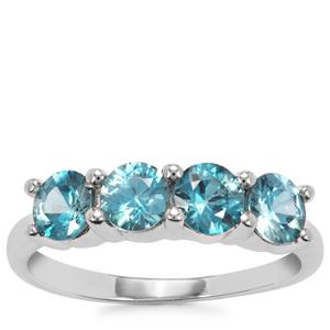 Ratanakiri Blue Zircon Ring in Sterling Silver 2.06cts