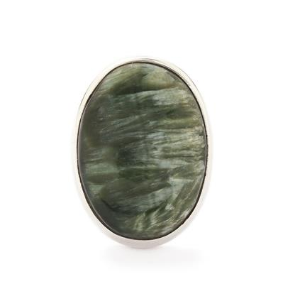 SIBERIAN SERAPHINITE STERLING SILVER TOOKALON RING