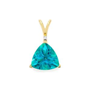 Batalha Topaz Pendant with Diamond in 10k Gold 3.72cts