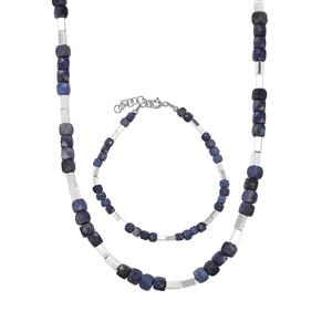 Dumortierite Set of Bracelet and Necklace with Silver Haematite in Sterling Silver 71.05cts