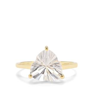 3.18ct Lehrer Infinity Cut Optic Quartz 9K Gold Ring