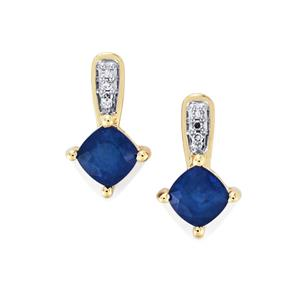 Santorinite™ Blue Spinel Earrings with White Diamond in 10K Gold 1.50cts