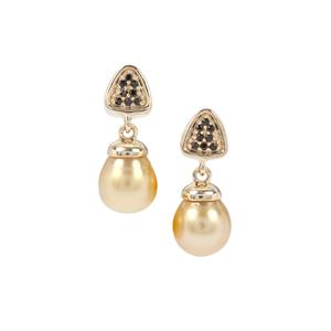 Golden South Sea Cultured Pearl Earrings with Black Spinel in 9K Gold