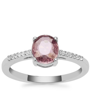 Burmese Pink Spinel & White Zircon Sterling Silver Ring ATGW 1.16cts