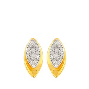 Diamond Earrings in Gold Plated Sterling Silver 0.25ct
