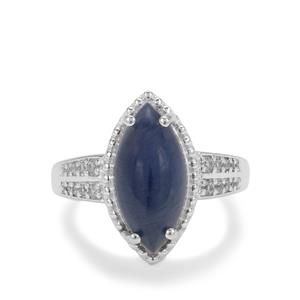Bharat Sapphire Ring with White Zircon in Sterling Silver 8.90cts