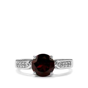 Rajasthan Garnet & White Topaz Sterling Silver Ring ATGW 2.34cts
